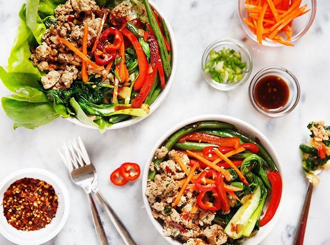 Clean Eating Thai Basil Turkey Bowls Recipe