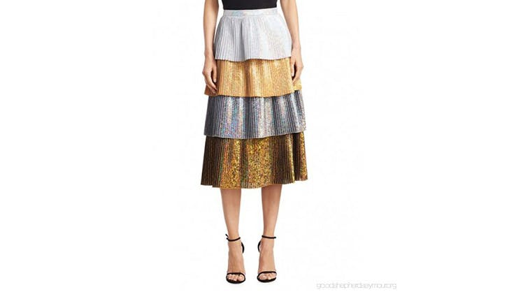 Delfi Collective Metallic Tiered Midi Skirt