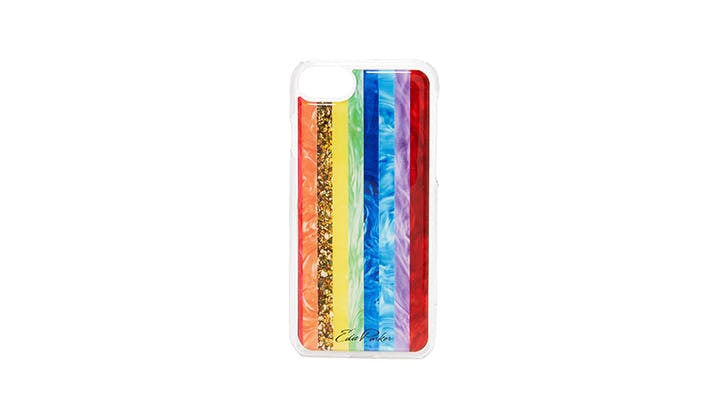Edie Parker Striped Rainbow phone case