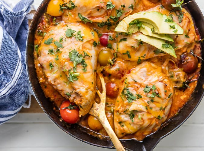 Enchilada Stuffed Chicken Skillet