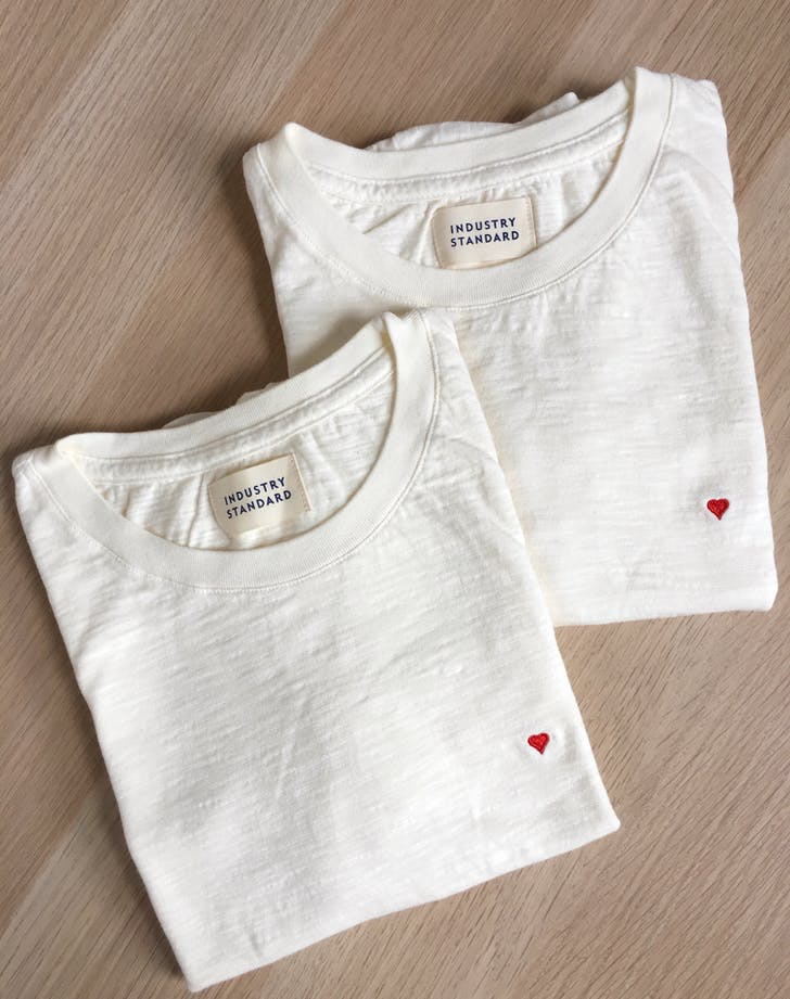 Industry Standard Sylvie Tee Creme Heart Embroidery
