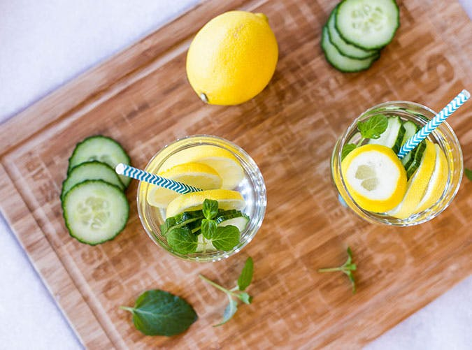 Infused water with cucumber  lemon and mint