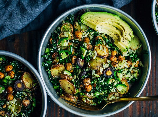 Kale Detox Salad with Pesto vegetarian clean eating recipe