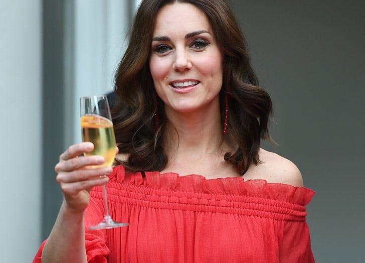 Kate Middleton January birthday raising glass of champagne