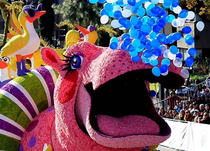 LA rose parade holiday feelings hippo