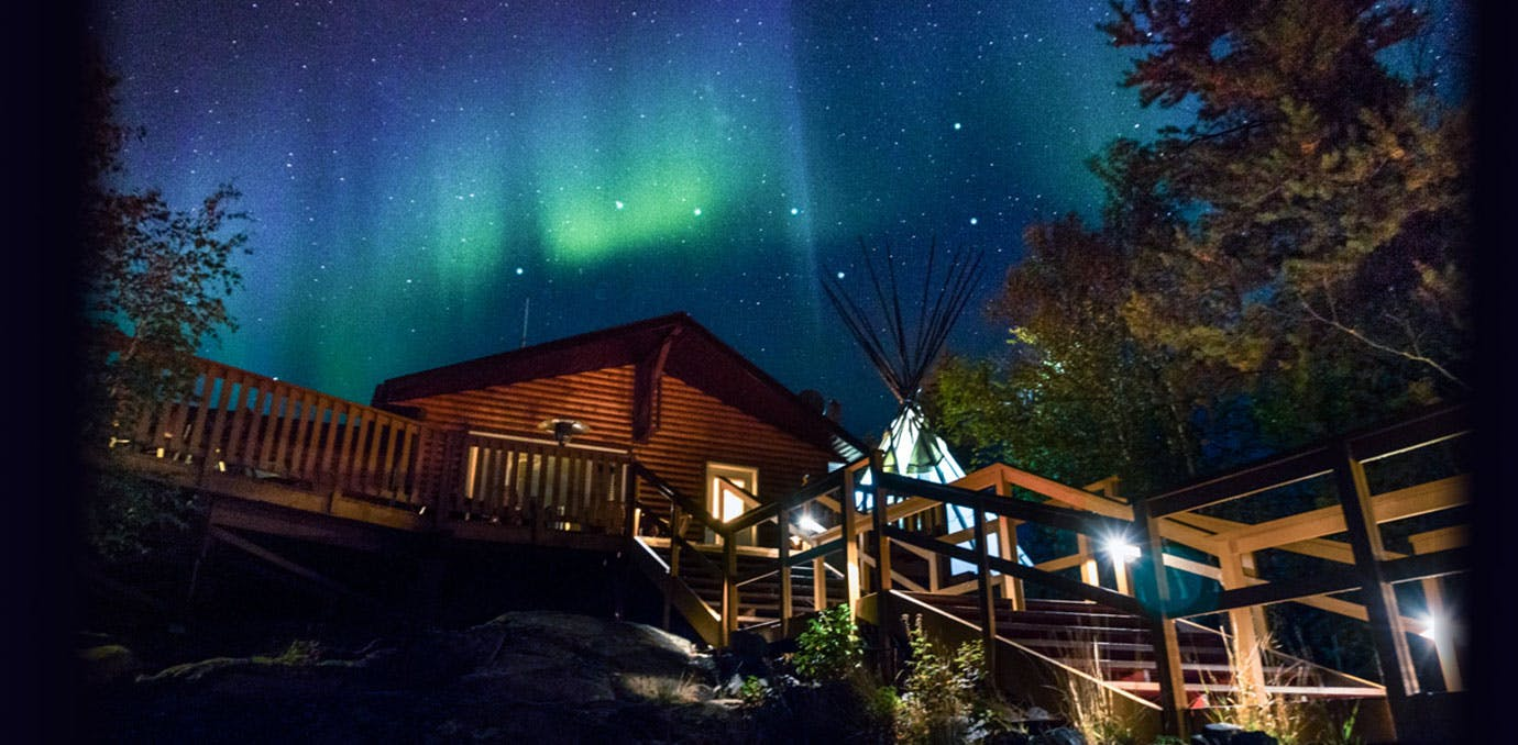 Northern Lights in Aurora Village  in Yellowknife Canada
