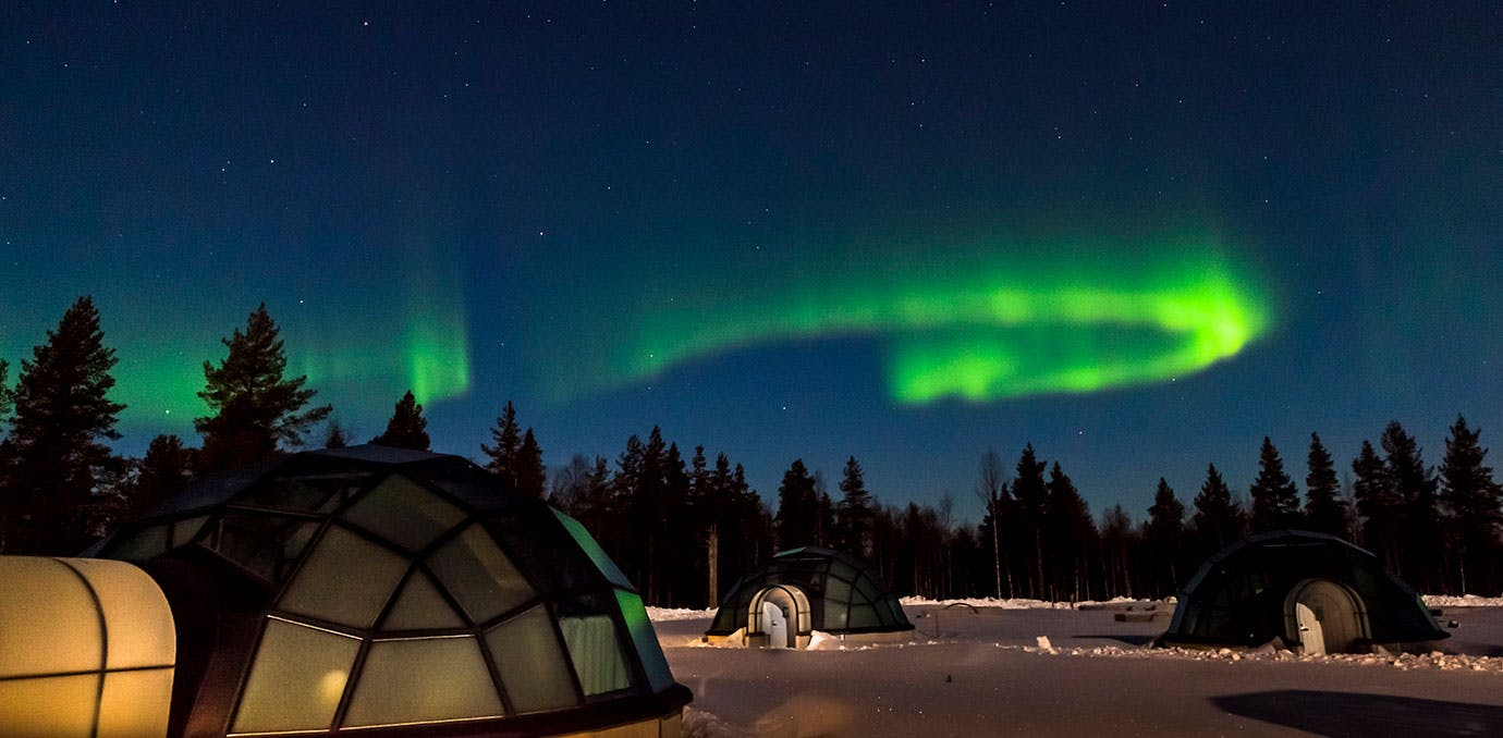 Northern lights and glass igloos in Kakslauttanen Finland