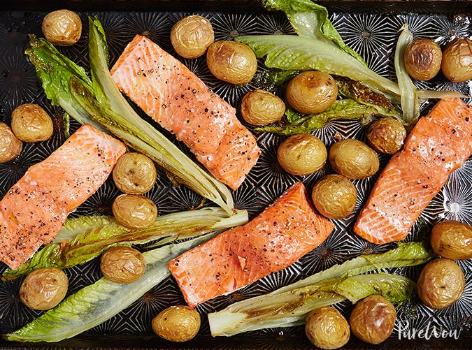 One Pan Roasted Salmon With Potatoes holiday sheet pan recipes