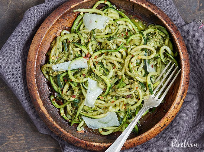 Pesto Zoodles Clean Eating Dinner Recipe