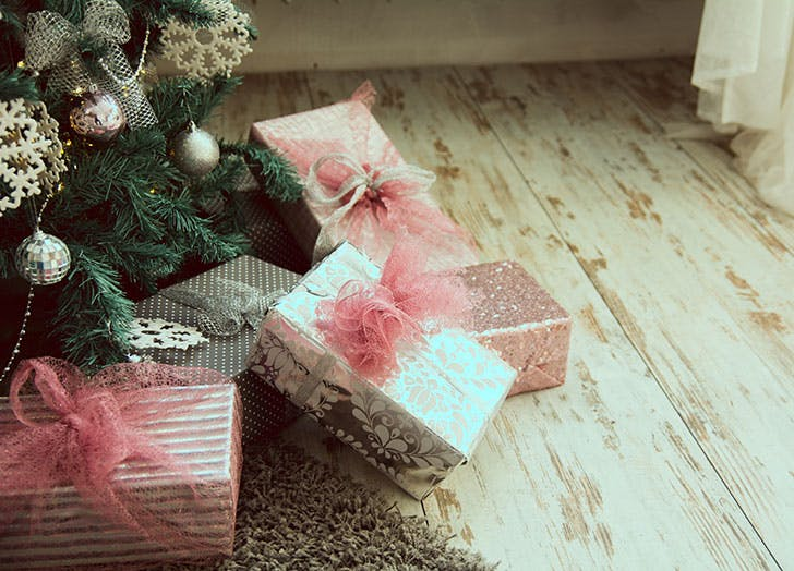 Pile of presents underneath the Christmas tree