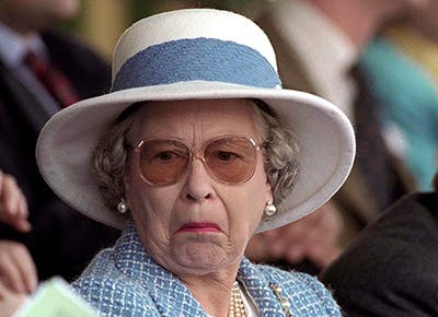 Queen Elizabeth II funny face