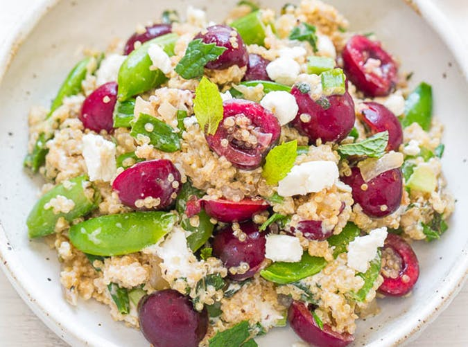 Quinoa  Cherry  and Goat Cheese Salad lazy dinner recipes