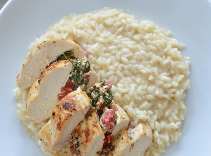 Risotto with Spinach and Red Pepper Stuffed Chicken