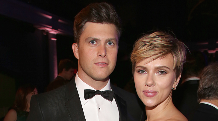 Colin Jost and Scarlett Johansson make their first appearance as a couple