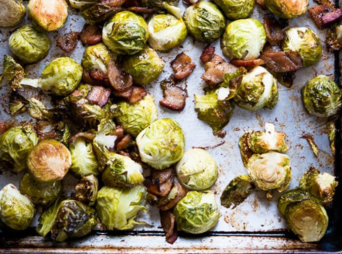 Sheet Pan Brussels Sprouts with Bacon and Garlic holiday sheet pan recipes