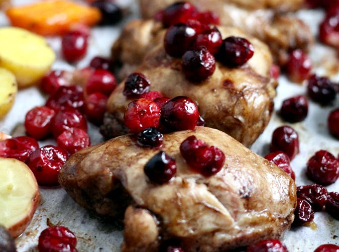 Sheet Pan Cranberry Chicken with Roasted Vegetables holiday sheet pan recipes