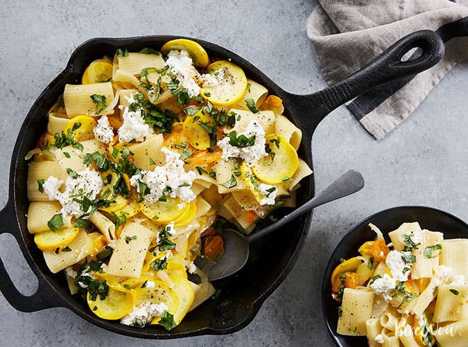 Skillet Pasta with Squash  Ricotta and Basil recipe