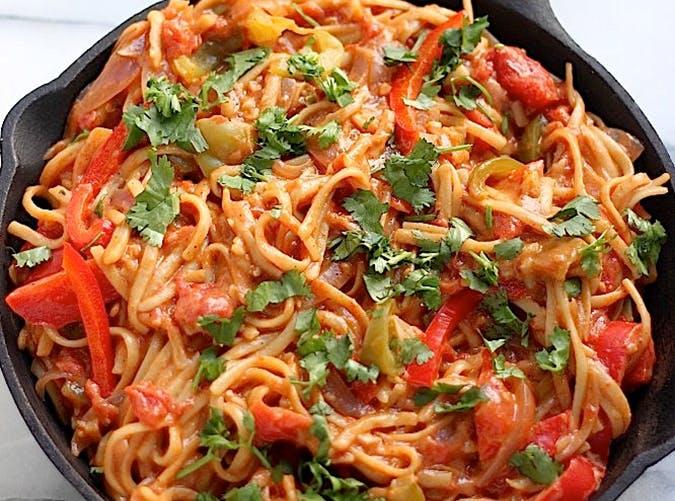 Skinny One Pan Veggie Fajita Pasta vegetable recipes for kids