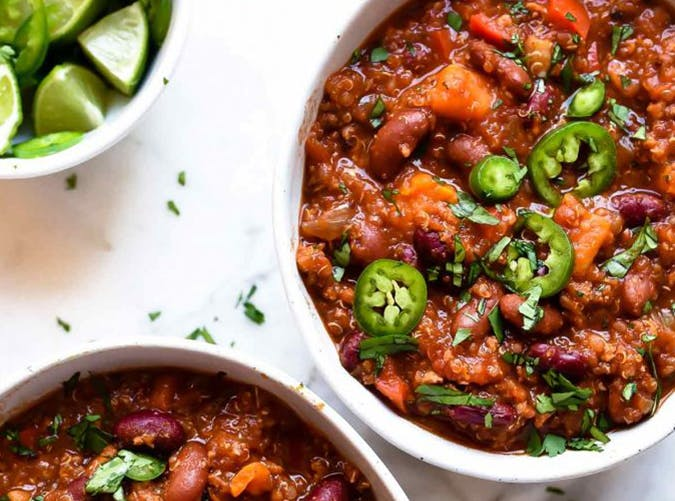 Slow Cooker Turkey and Sweet Potato Chili with Quinoa mediterranean slow cooker meals