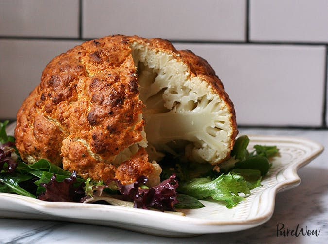 Spicy Whole Roasted Cauliflower vegetarian clean eating recipe