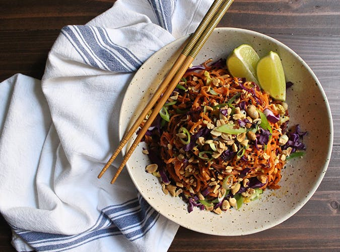 Sweet Potato and Cabbage Pad Thai vegetarian clean eating recipe