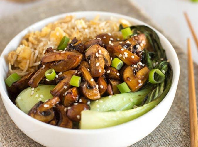 Teriyaki Mushroom Egg Fried Rice Bowls vegetarian clean eating recipes