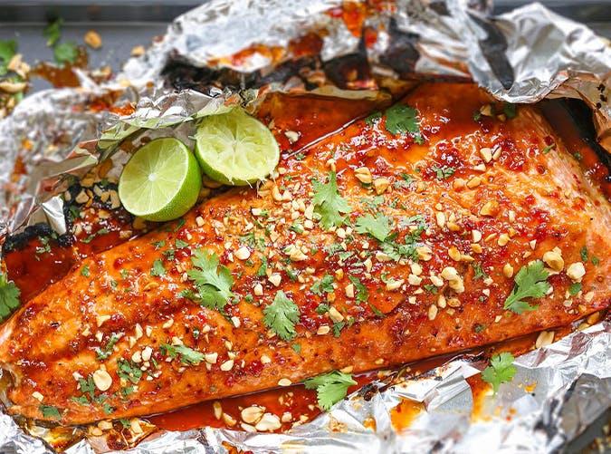 Thai Salmon Foil lazy dinner recipes