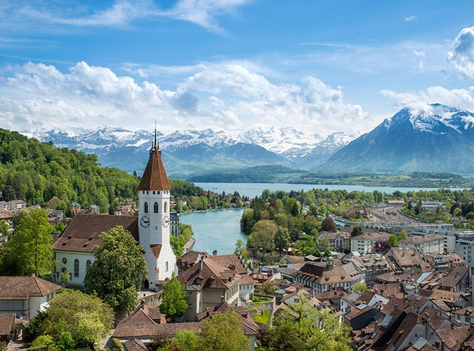 The historic city of Thun  in the canton of Bern in Switzerland