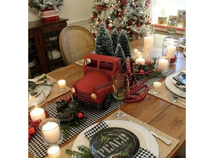 Toy Truck Christmas Table Centerpiece1