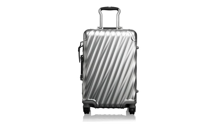 Tumi silver carry on suitcase