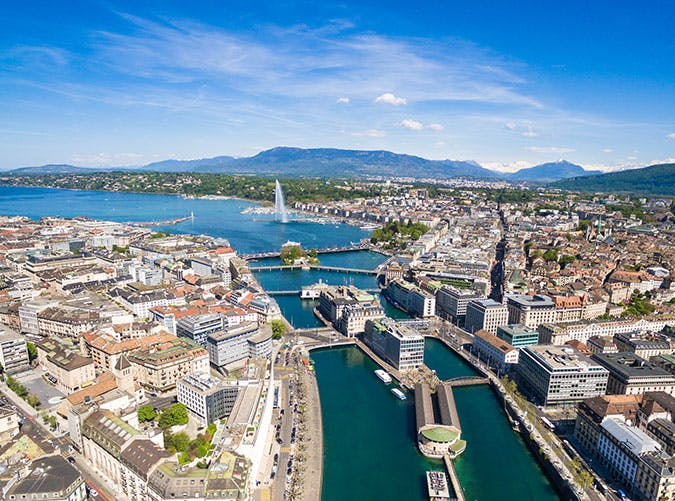 View of Geneva city in Switzerland