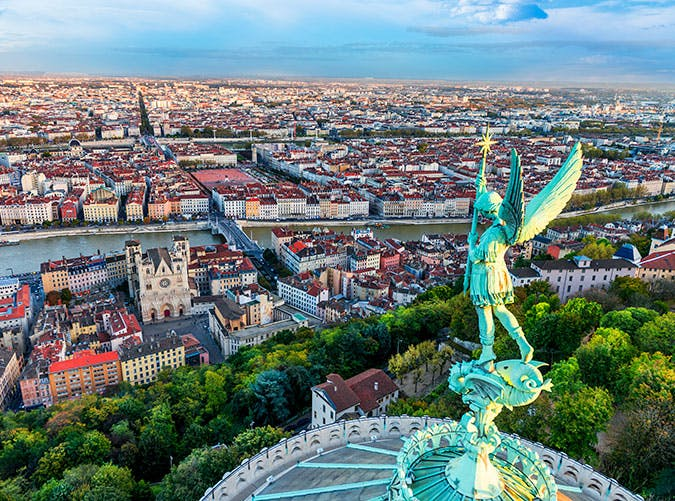 View of Lyon city in France