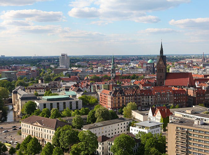 View of the city of Hannover in Germany