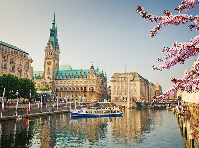 View on Hamburg townhall in Germany