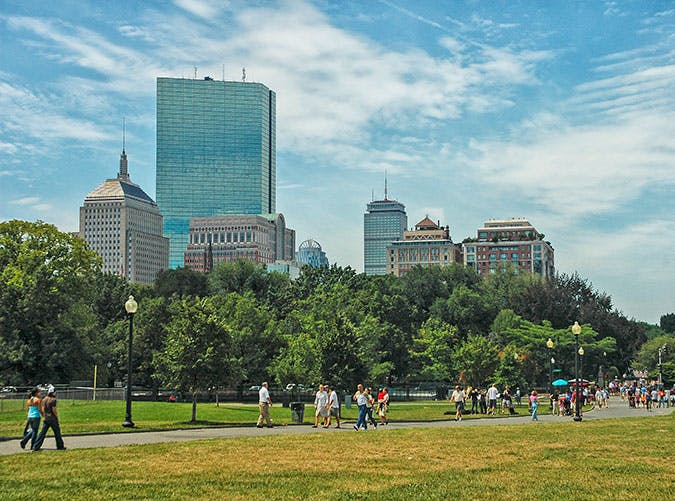 Visitors View of the city skyline from Boston Commons