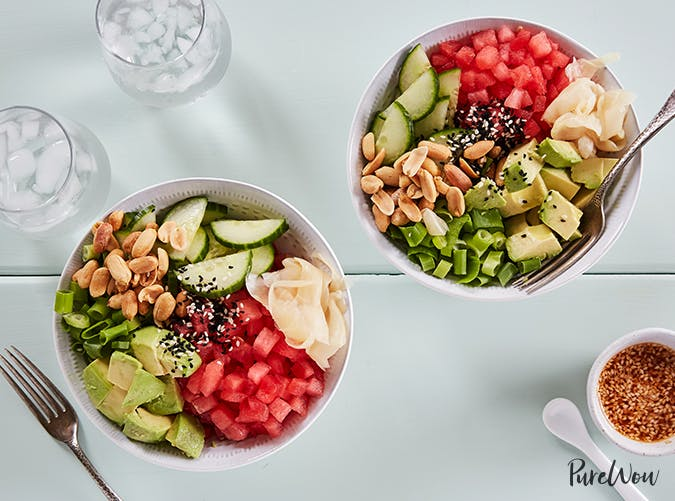 Watermelon Poke Bowls vegetarian clean eating recipes