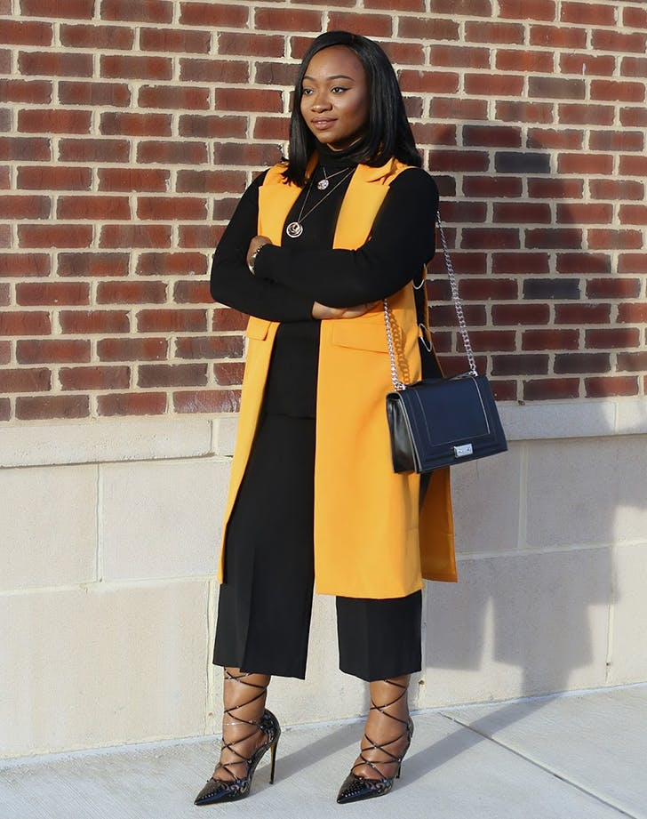 add one pop of color road to fashionable january winter outfit ideas