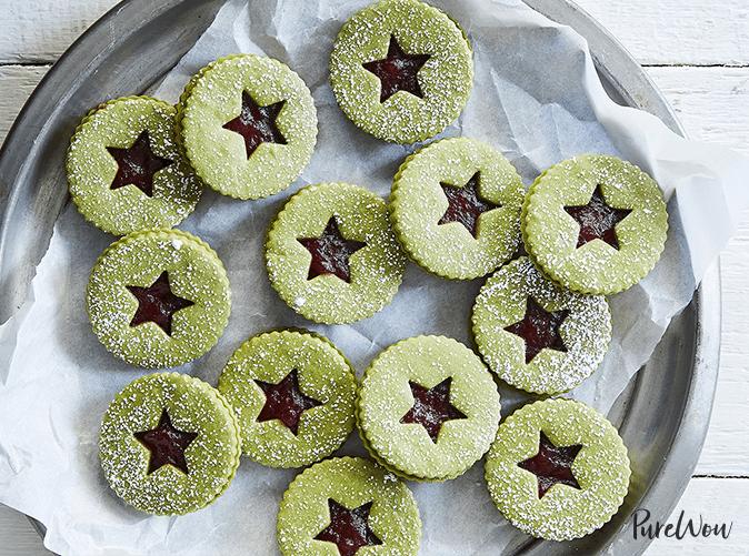 best desserts matcha linzer cookies