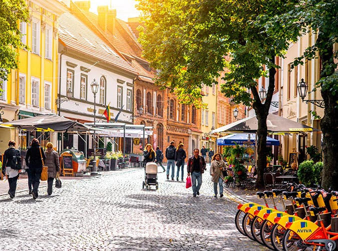 cafes and bars in the old town of Vilnius city in Lithuania