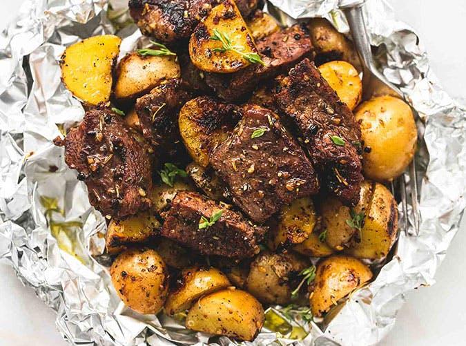 clean eating recipe for steak potato foil packs