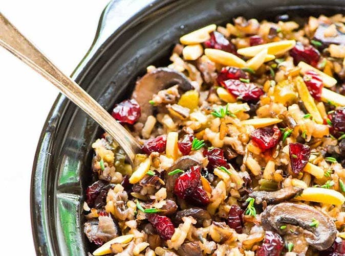 crock pot vegan stuffing wild rice cranberries almonds