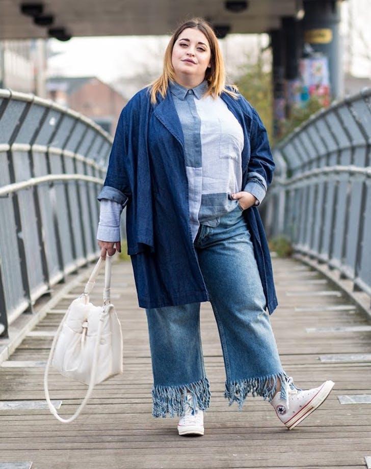 denim on denim danielle vanier january winter outfit ideas