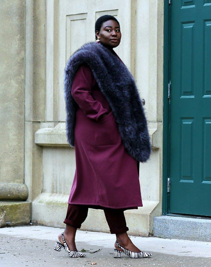 faux fur stole lion hunter january winter outfit ideas