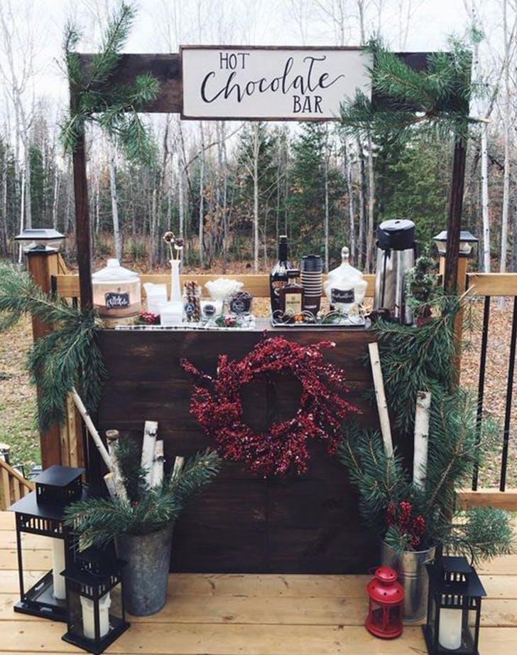 hot chocolate bar winter wedding ideas