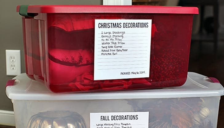 how to store holiday christmas decoartions label every box