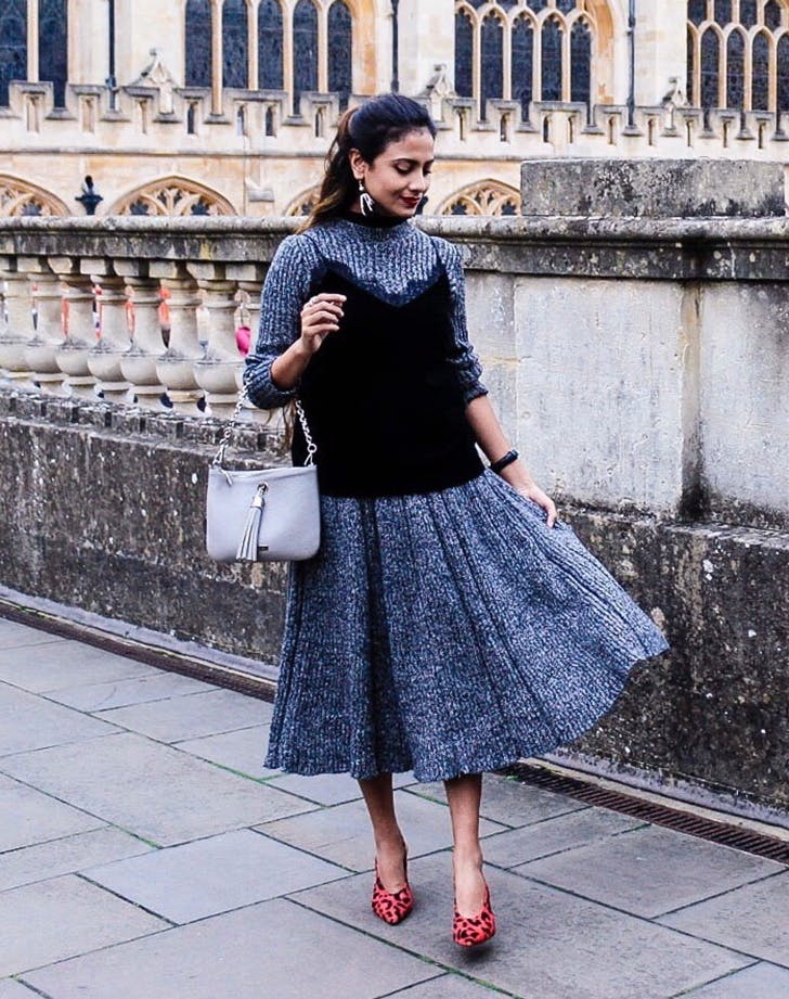 layer a cami over a sweater january winter outfit ideas the style tune1