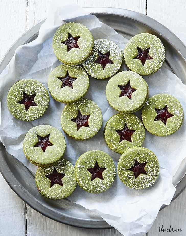 Matcha-Cranberry Linzer Cookies