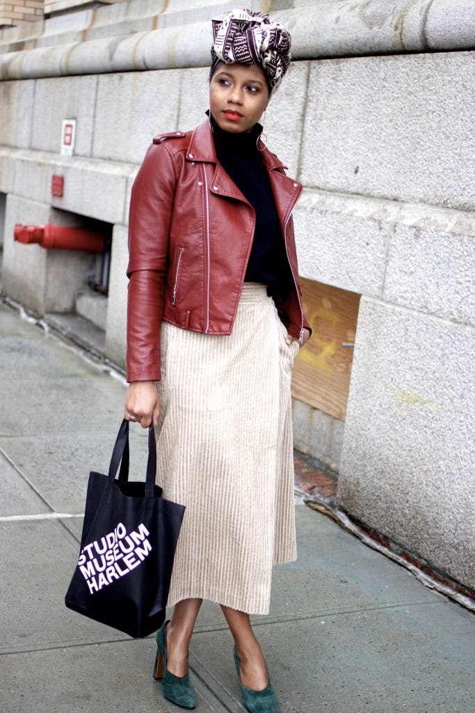mix different fabrics january winter outfit ideas
