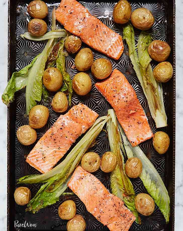 paleo sheet pan dinner salmon potatoes lettuce