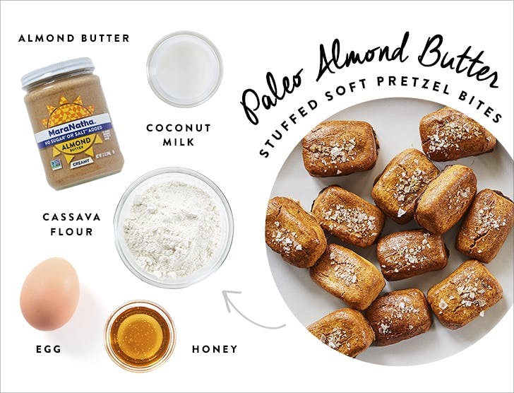 paleo almond butter stuffed pretzels